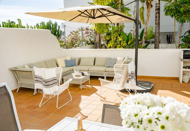 Terrace for 2 Bedroom Holiday Apartment with Pool and terrace in Estepona