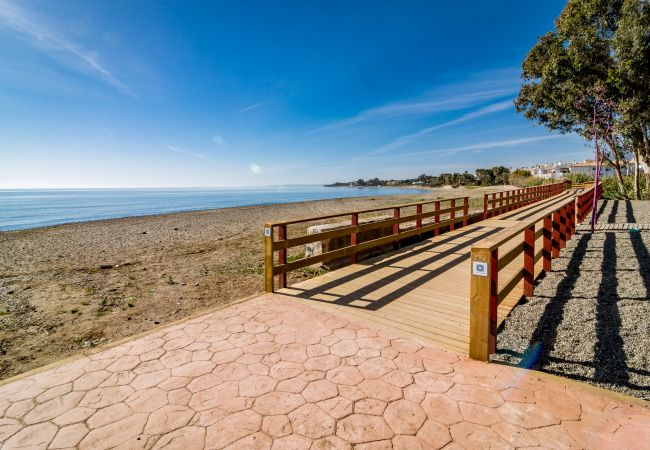 Beach of 2 Bedroom Holiday Apartment with Pool and terrace in Estepona