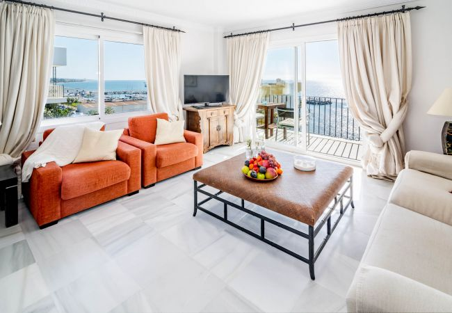 Living Room of Beachfront Penthouse in Marbella Center