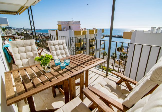 Terrace and views of Beachfront Penthouse in Marbella Center